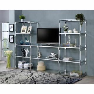 ACME Raegan TV Stand - 91245 - Clear Acrylic - Chrome & Clear Glass