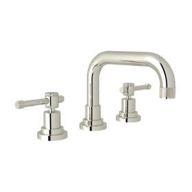Campo U-Spout Widespread Bathroom Faucet - Polished Nickel with Industrial Metal Lever Handle
