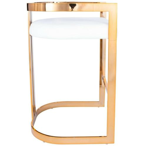 Furnish your kitchen or bar area in contemporary style with this soft curve lumbar frame counter stool. The high polish solid iron frame provides a sturdy base, while the plush faux leather seat ensures maximum comfort. The combination of angles and gentle curves gives this stool an eye-catching appearance, while the neutral color allows it to match well with any decor.