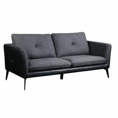 ACME Harun Sofa - 51490 - Contemporary - Fabric+PU, Frame: Wood (Ply), Foam (D); Powered/Metal Reclining Mechanism - Gray Fabric and PU