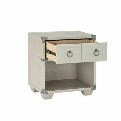 ACME Orchest Nightstand w/USB Dock (1 Drw) - 36128 - Transitional, Industrial - Wood (Poplar/Pine), MDF - Gray
