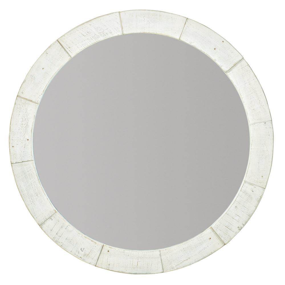 Piper Round Mirror in Brushed White (398)