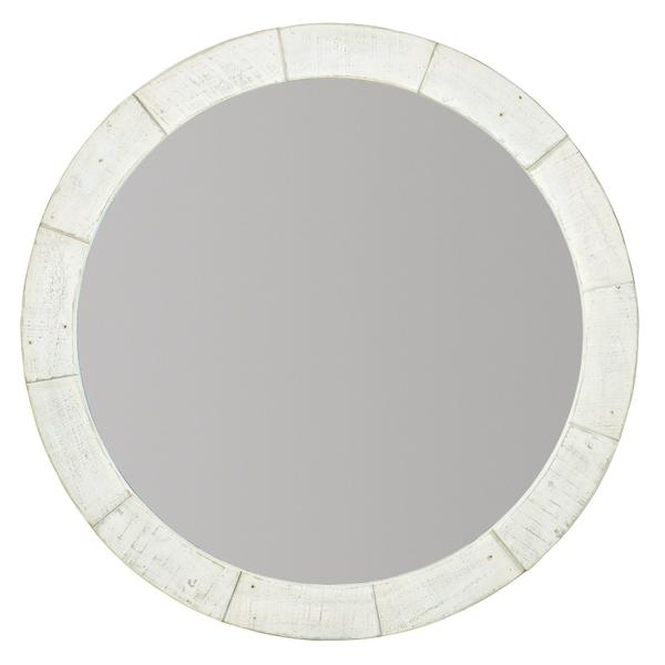 Piper Round Mirror in Brushed White