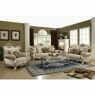 ACME Bently Sofa w/7 Pillows - 50660 - Fabric & Champagne
