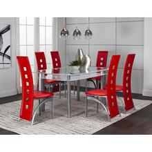 Valencia 36x60 White 7pc Set W/red Side Chairs
