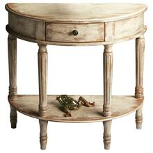 Add style and elegance to your home with this demilune console. Features oak veneers with an artisan-applied crackled, distressed Chateau Gray paint finish. Crafted from poplar hardwood solids, wood products and choice cherry veneers with antique brass finished drawer knob.