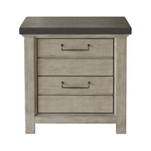 See Details - 2 Drawer USB Charging Nightstand in Farmhouse Grey