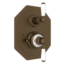 Edwardian Octagonal Concealed Thermostatic Trim with Volume Control - English Bronze with Metal Lever Handle
