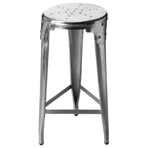 Butler Specialty Company - Crafted from hand-forged aluminum in a matte finish with riveted braces uniting round seat and tapered legs, this Bar Stool sits comfortably in a vintage industrial zone.