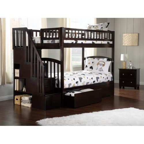 Atlantic Furniture - Westbrook Staircase Bunk Bed Twin over Twin with Urban Bed Drawers in Espresso