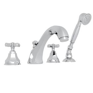 Polished Chrome Palladian 4-Hole Deck Mount Tub Filler With Handshower with Cross Handle Product Image