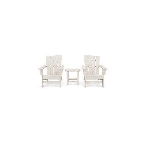 Polywood Furnishings - Wave 3-Piece Adirondack Chair Set in Sand