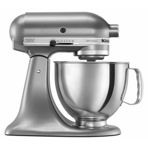KitchenAid - Value Bundle Artisan® Series 5 Quart Tilt-Head Stand Mixer with additional 3 Quart bowl - Contour Silver