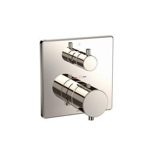Thermostatic Mixing Valve with Two-way Diverter Trim - Square - Polished Nickel