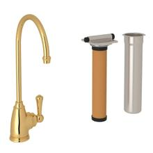 Georgian Era C-Spout Filter Faucet - Unlacquered Brass with Metal Lever Handle