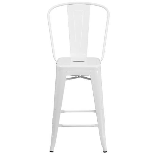24'' High White Metal Indoor-Outdoor Counter Height Stool with Back