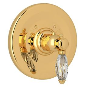 Thermostatic Trim Plate without Volume Control - Italian Brass with Crystal Metal Lever Handle