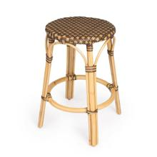 See Details - Evoking images of sidewalk tables in the Cote d'Azur, counter stools like this will give your kitchen or patio the casual sophistication of a Mediterranean coastal bistro. Expertly crafted from thick bent rattan for superb durability, it features weather resistant woven plastic in a white pattern. This backless counter stool is lightweight for easy mobility with comfort to make the space it's in a frequent gathering place.