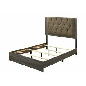 ACME Avantika Eastern King Bed - 27677EK - Transitional - Fabric, Veneer (Foil), MDF, PB - Fabric and Rustic Gray Oak