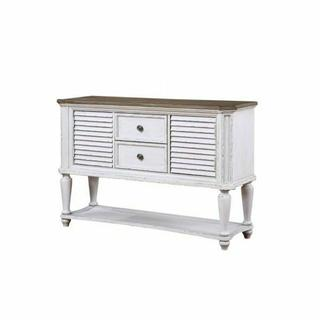 ACME York Shire Server - 62280 - Country-Cottage, Provincial - Wood (Solid Poplar), Wood Veneer (Hickory), MDF, Ply - Dark Charcoal and Antique White