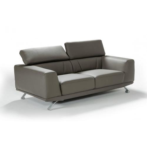 "VIG Furniture - Divani Casa Brustle - Modern Dark Grey Eco-Leather 89"" Sofa"