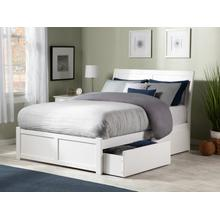 Portland Full Flat Panel Foot Board with 2 Urban Bed Drawers White