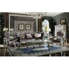 ACME Picardy Sofa w/8 Pillows - 53465 - Velvet & Antique Platinum