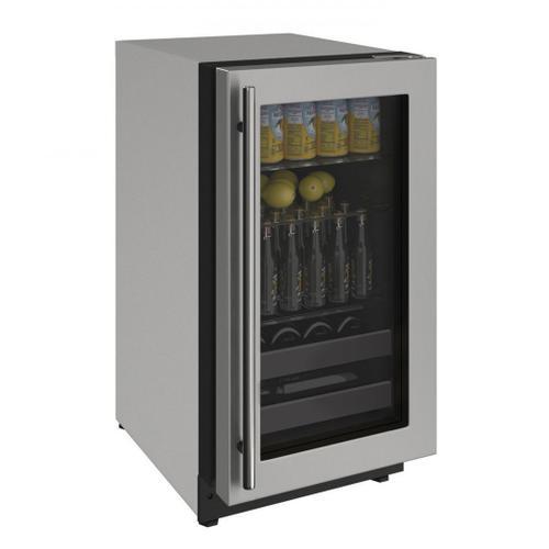 """U-Line - 2218bev 18"""" Beverage Center With Stainless Frame Finish and Left-hand Hinge Door Swing (115 V/60 Hz Volts /60 Hz Hz)"""