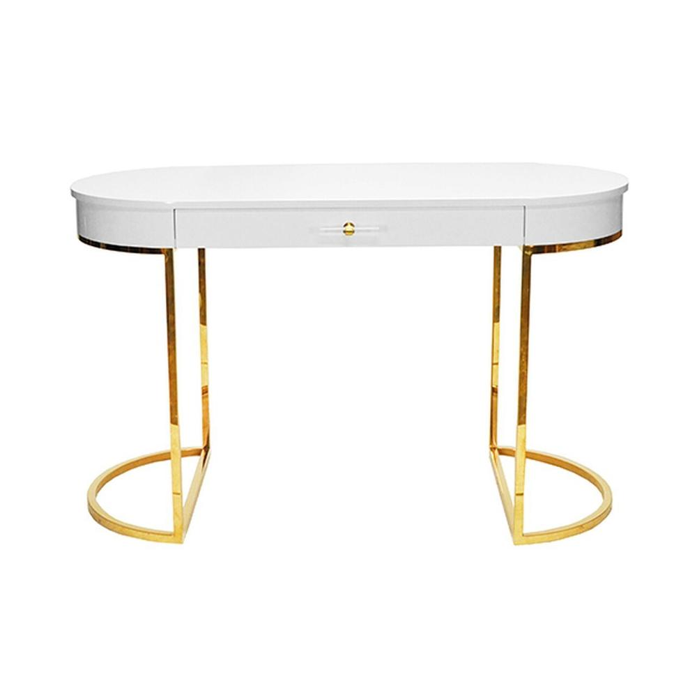Modern, Glamorous, and On-trend, Our Oval Corbett Desk Is the Epitome of Luxe Design. Finished In Our Signature Glossy White Lacquer With Linear Acrylic Hardware and A Polished Brass Demilune Base. So Chic!