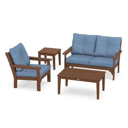Vineyard 4-Piece Deep Seating Set in Teak / Sky Blue