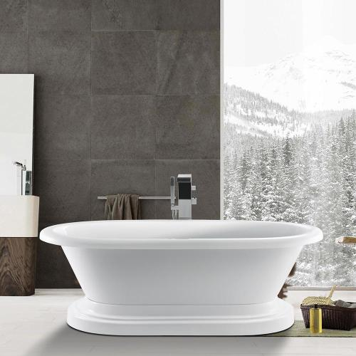 """Corinne 72"""" Acrylic Double Roll Top Tub on Base - No Drillings"""