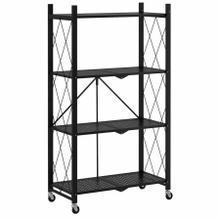 See Details - Quby Foldable 4-Tier Shelf in Black