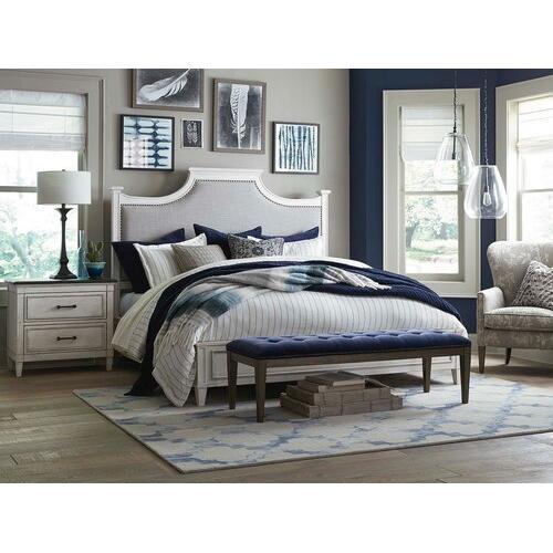 King/Aged Whitestone Bella Upholstered Panel Bed