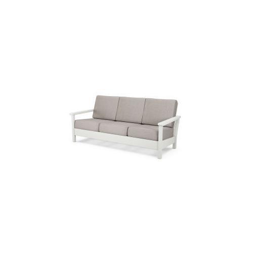 Polywood Furnishings - Harbour Deep Seating Sofa in Vintage White / Weathered Tweed