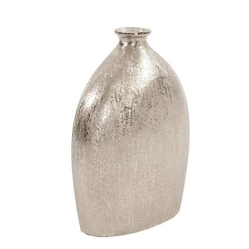 Howard Elliott - Textured Flask Vase in Bright Silver, Large