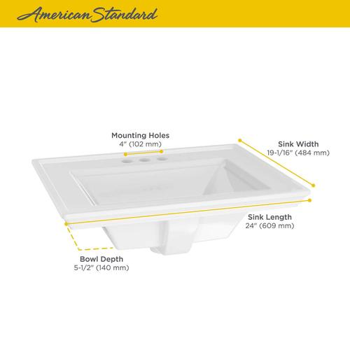 American Standard - Town Square S Drop-In Bathroom Sink 4-inch Centers  American Standard - White