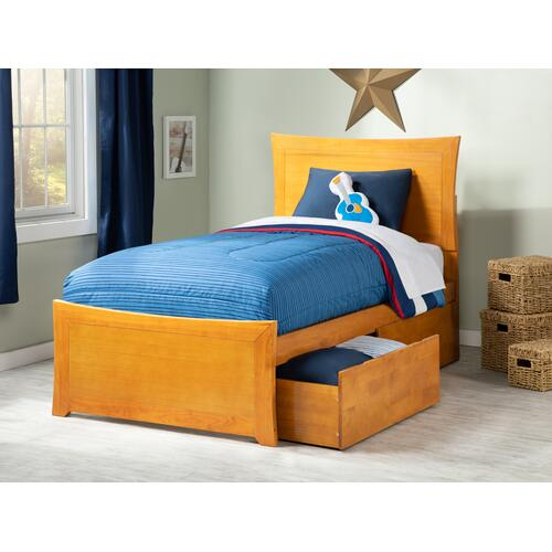 Metro Twin Bed with Matching Foot Board with 2 Urban Bed Drawers in Caramel Latte