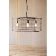 double barrel wire mesh hanging pendant light