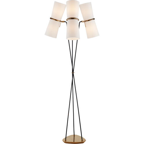 AERIN Clarkson 63 inch 60 watt Black and Brass Triple Floor Lamp Portable Light