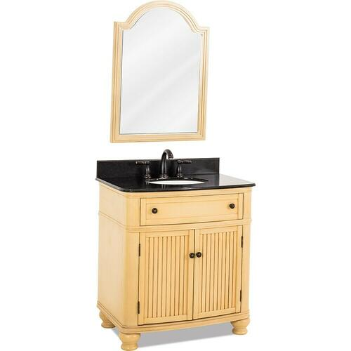 "32"" Buttercream vanity with Antique Brushed Satin Brass hardware, bead board doors, curved front, and preassembled Black Granite top and oval bowl"