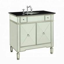 ACME Atrian Sink Cabinet - 90345 - Black Marble & Mirrrored