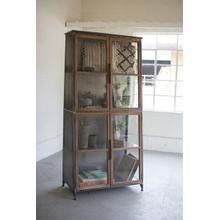 See Details - metal & wood slanted display cabinet \ glass doors