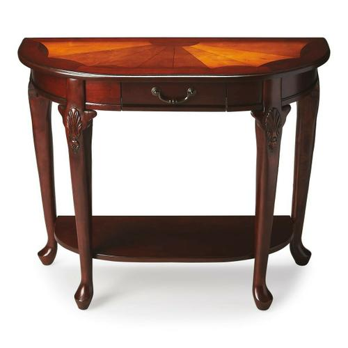 Butler Specialty Company - Made from selected solid woods. Choice cherry veneers with maple and walnut veneers inlay. Marquerty design with burnished pattern lines. One working drawer and lower shelf. Brass plated hardware.