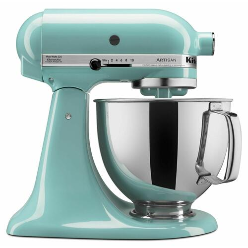 KitchenAid - Value Bundle Artisan® Series 5 Quart Tilt-Head Stand Mixer with Fresh Prep Slicer/Shredder Attachment - Aqua Sky