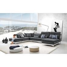 View Product - David Ferrari Horizon - Modern Grey Fabric + White Leather U Shaped Sectional Sofa