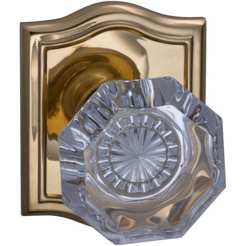 Interior Traditional Knob Latchset with Arched Rose in (US3 Polished Brass, Lacquered)