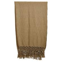 """Product Image - 50""""L x 60""""W Woven Cotton Throw w/ Crochet & Fringe, Olive Color"""