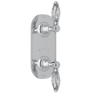 "Polished Chrome Italian Bath 1/2"" Thermostatic/Diverter Control Trim with Crystal Lever Product Image"