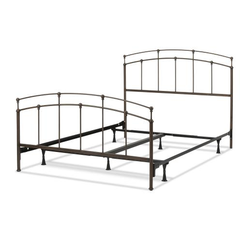 Fenton Complete Metal Bed and Steel Support Frame with Gentle Curves, Black Walnut Finish, King