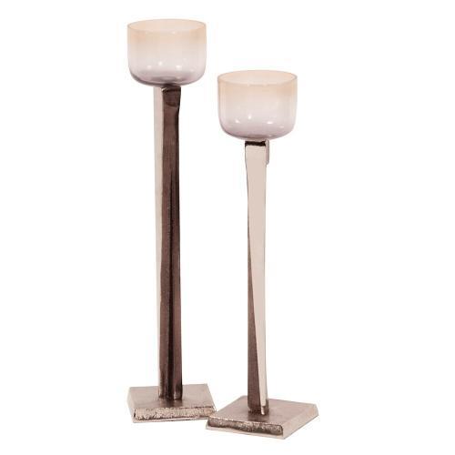 Howard Elliott - Ombre Glass Candle Holder on Aluminum Base, Large